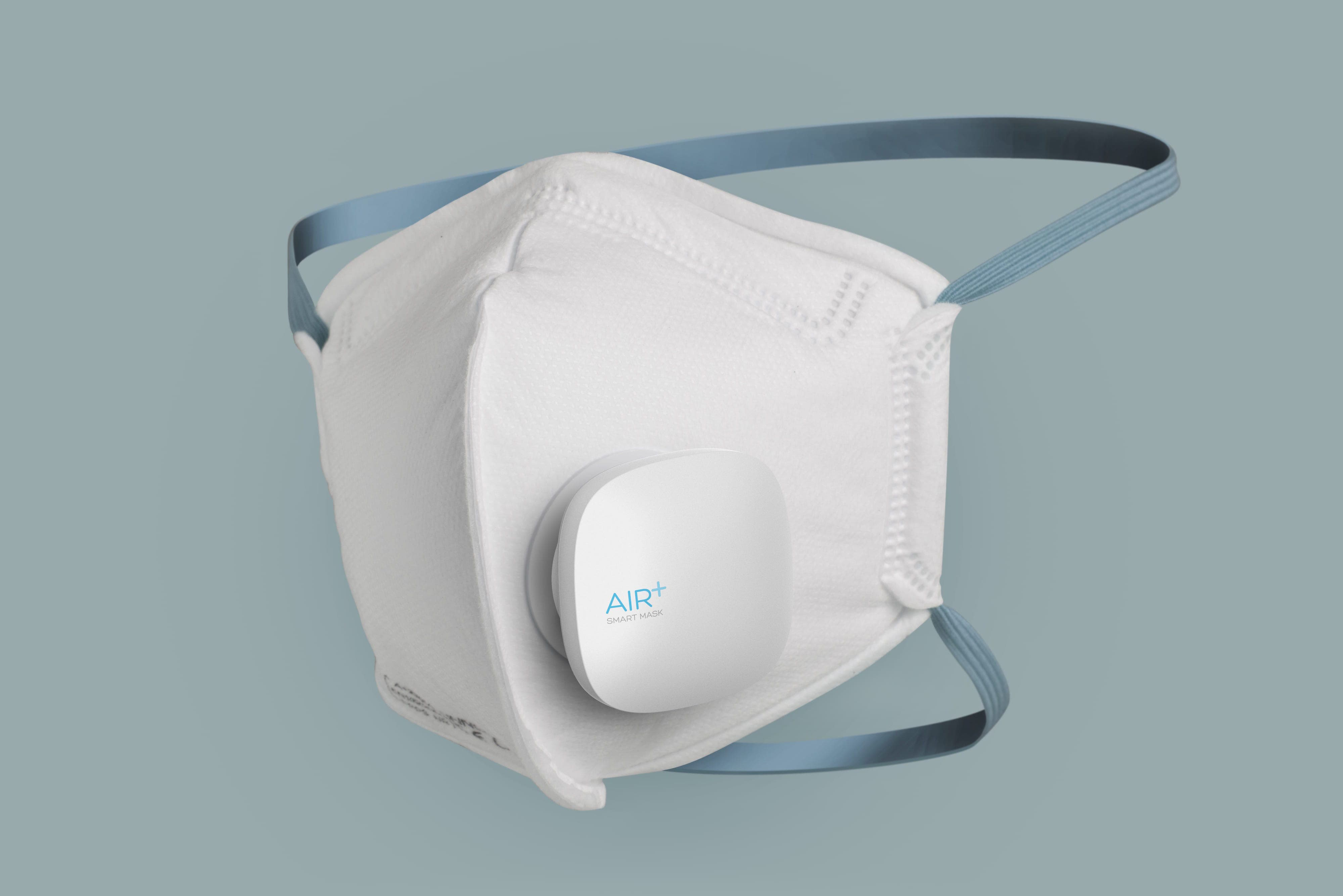 STUCK-Design-Healthcare-Air_Smart_Mask_Respirator_Ventilator_ProductShot_Teal_Tilt_Dithered 2